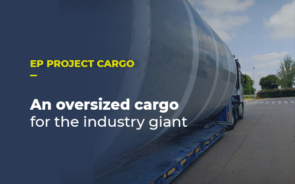An oversized cargo for the industry giant. A picture of the silo.